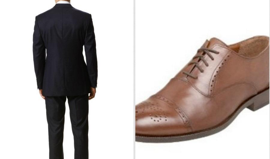 Jas Pria Biru Dongker dengan Sepatu Coklat